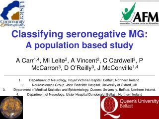 Classifying seronegative MG: A population based study