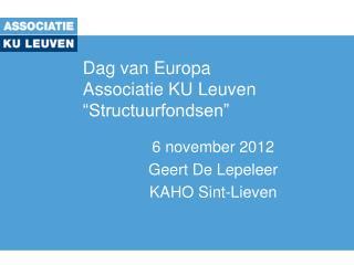 "Dag van Europa Associatie KU Leuven  ""Structuurfondsen"""