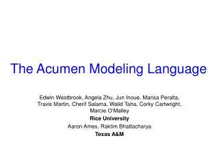 The Acumen Modeling Language