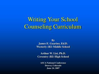 Writing Your School Counseling Curriculum