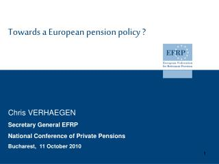 Towards a European pension policy ?