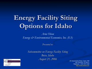 Energy Facility Siting Options for Idaho