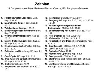 29 Doppelstunden, Berk: Berkeley Physics Course, BS: Bergmann-Schaefer