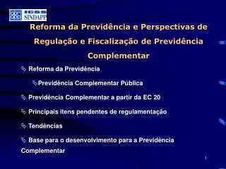 Reforma da Previdência e Perspectivas de Regulação e Fiscalização de Previdência Complementar