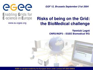 Risks of being on the Grid: the BioMedical challenge Yannick Legré CNRS/IN2P3 – EGEE Biomedical WG