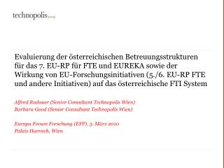 Alfred Radauer (Senior Consultant Technopolis Wien)