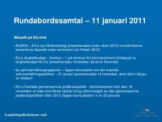 Rundabordssamtal – 11 januari 2011
