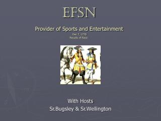 EFSN Provider of Sports and Entertainment  Dec 7, 1778 Results of Race:
