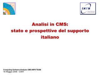 Analisi in CMS: stato e prospettive del supporto italiano