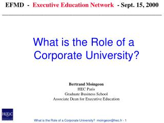 What is the Role of a Corporate University?