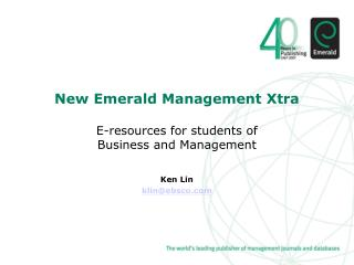 New Emerald Management Xtra E-resources for students of  Business and Management