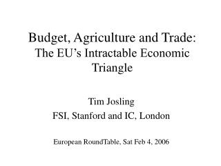Budget, Agriculture and Trade:  The EU�s Intractable Economic Triangle