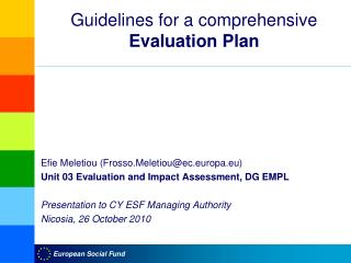 Guidelines for a comprehensive  Evaluation Plan