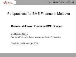 Perspectives for SME Finance in Moldova