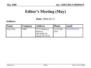 Editor's Meeting (May)