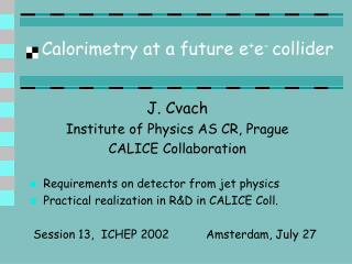 Calorimetry at a future e + e -  collider