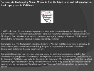 Sacramento Bankruptcy News - Where to find the latest news a