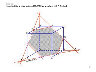 Soal 1 : Lukislah bidang irisan kubus ABCD.EFGH yang melalui titik P, Q, dan  R
