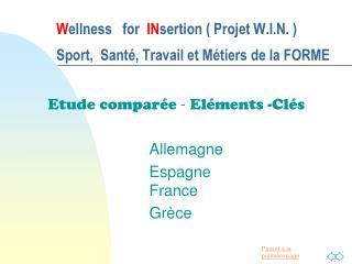 W ellness   for   IN sertion ( Projet W.I.N. )   Sport,  Santé, Travail et Métiers de la FORME