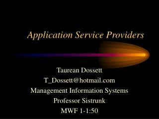 Application Service Providers