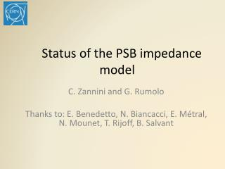 Status of the PSB impedance model