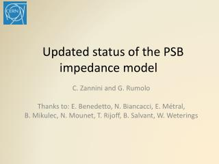 Updated status of the PSB impedance model