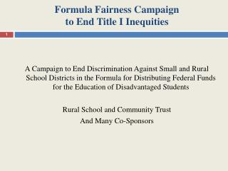 Formula Fairness Campaign  to End Title I Inequities