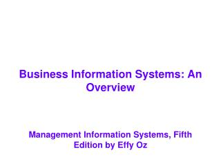 Business Information Systems: An Overview