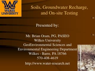 Soils, Groundwater Recharge,  and On-site Testing