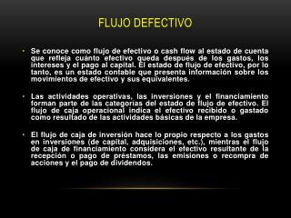 FLUJO DEFECTIVO