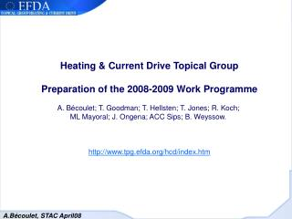 Heating & Current Drive Topical Group Preparation of the 2008-2009 Work Programme