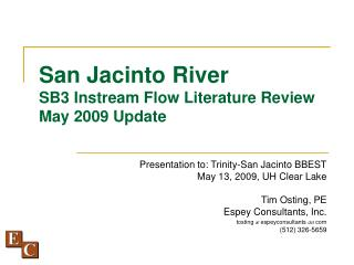 San Jacinto River SB3 Instream Flow Literature Review May 2009 Update
