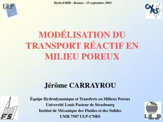 MODÉLISATION DU  TRANSPORT RÉACTIF EN MILIEU POREUX