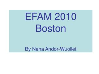 EFAM 2010 Boston By Nena Andor-Wuollet