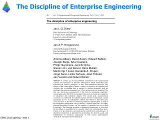 The Discipline of Enterprise Engineering