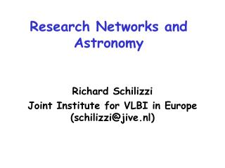 Research Networks and Astronomy