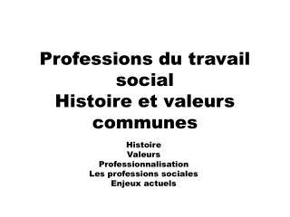 Professions du travail social Histoire et valeurs communes