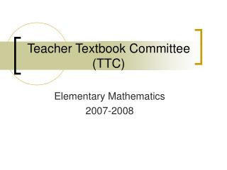 Teacher Textbook Committee (TTC)