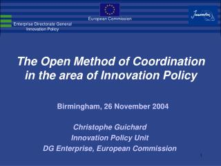 The Open Method of Coordination in the area of Innovation Policy