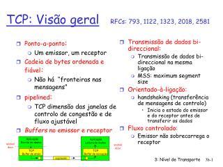 TCP: Visão geral RFCs: 793, 1122, 1323, 2018, 2581