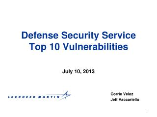 Defense Security Service  Top 10 Vulnerabilities