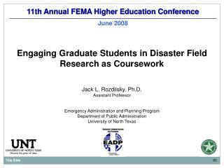 11th Annual FEMA Higher Education Conference June 2008