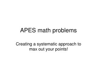 APES math problems