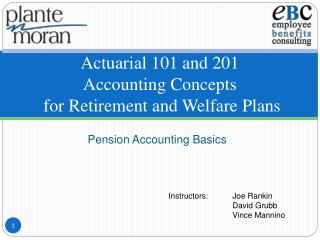 Actuarial 101 and 201 Accounting Concepts  for Retirement and Welfare Plans