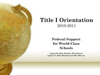 Title I Orientation  2010-2011