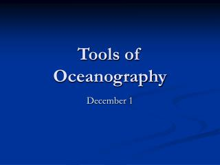 Tools of Oceanography