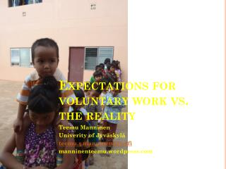 Expectations  for  voluntary work  vs. the  reality