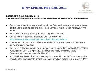 STVY SPRING MEETING 2011