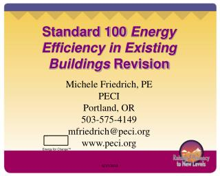 Standard 100  Energy Efficiency in Existing Buildings  Revision