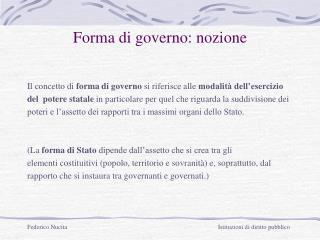 Forma di governo: nozione